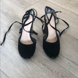 Seychelles Drift Black Suede ankle tie heels